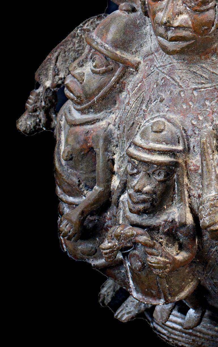 Bronze Benin Medicine Jar, Late 19th Century, African (Nigeria) - Gold Figurative Sculpture by Unknown