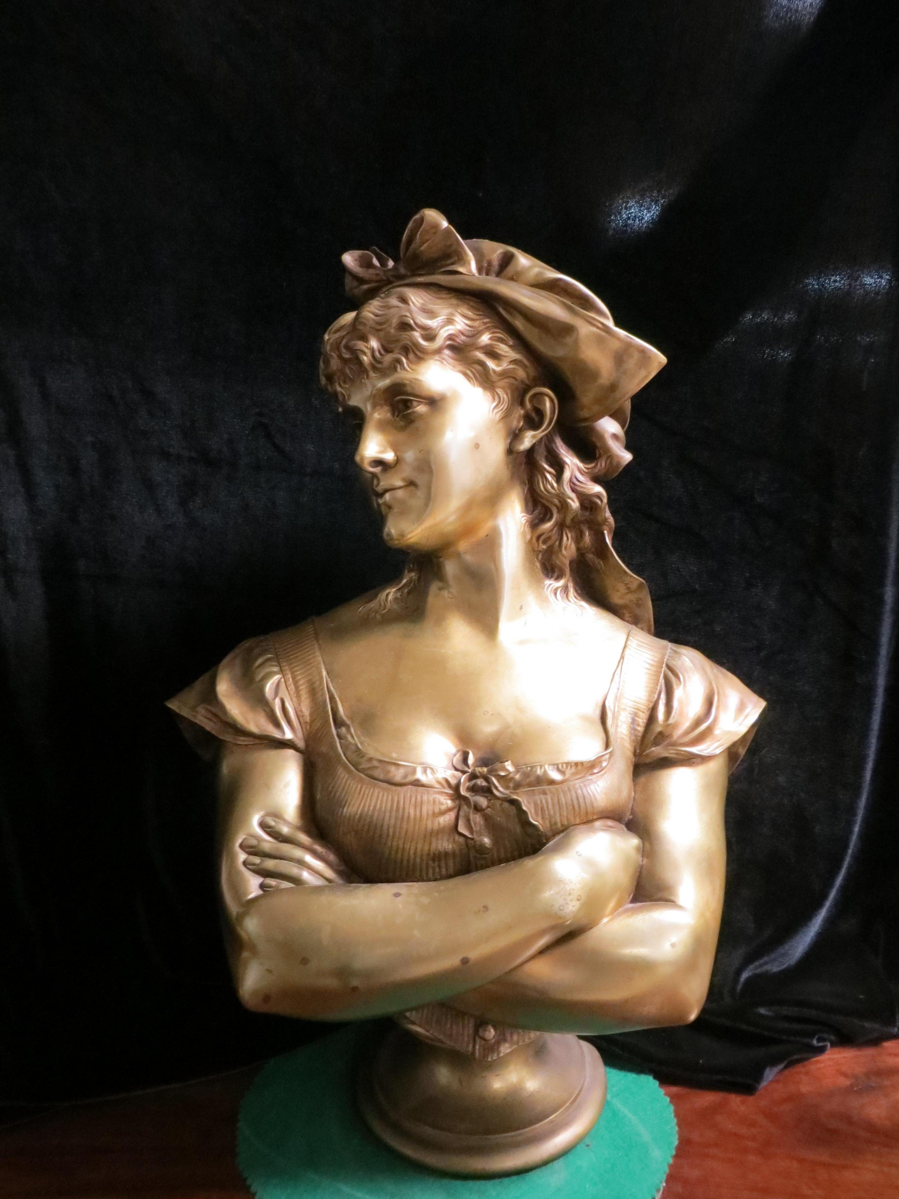 Bronze Bust Lady After Leop Harze