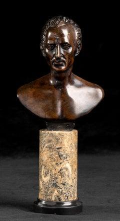 Bronze Sculpture Bust Of Caesar Standing on Specimen Yellow Marble Pedestal 20th