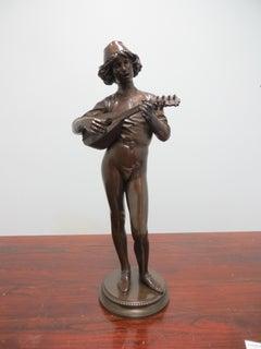 Bronze XIXe. Paul Dubois. Joueur De Mandoline.