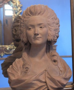Bust of a Lady, Madame Comtesse Du Barry, Terracotta Bust, French Antique School