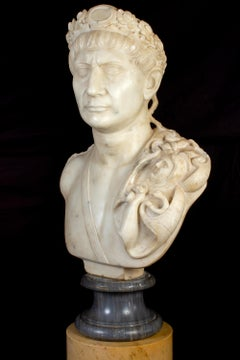 Bust of Emperor Traiano Italian Neoclassical Carrara Marble Sculpture