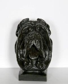 Cane Corso Dog Bust, Patinated Bronze Sculpture
