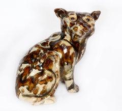 Cat, Unique Glazed Ceramic Sculpture