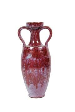 Ceramic Vase in Pink & Red, 20th Century