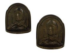 """Charles Lindbergh Book Ends,"" Cast Bronze created in 1929 by an Unknown Artist"