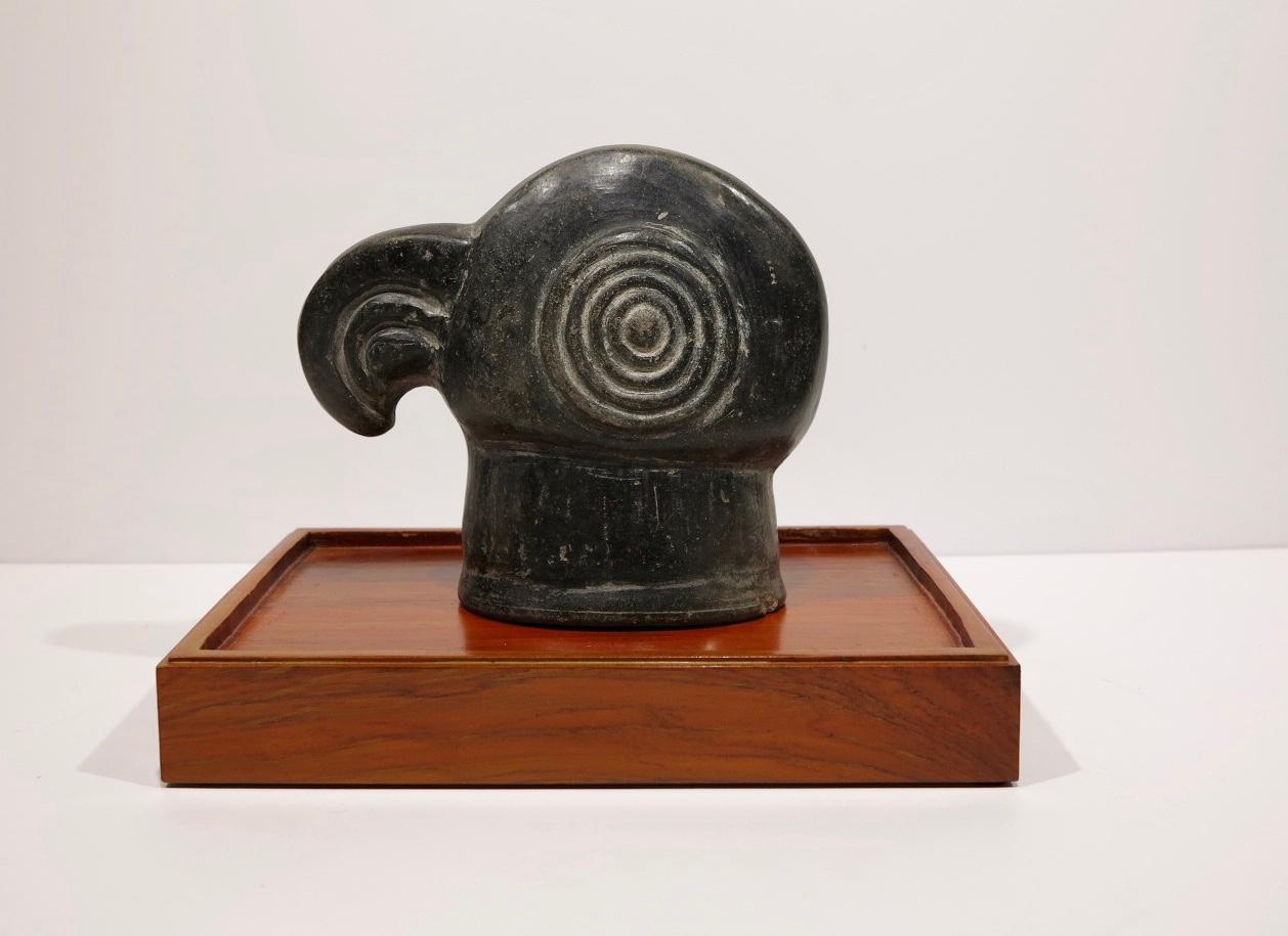 Chimu Inca Peruvian pre-Columbian exotic bird pottery figural mask element