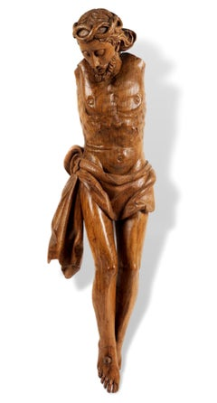 Christ crucified Wood sculpture Flemish 16th century Mannerism Baroque Art