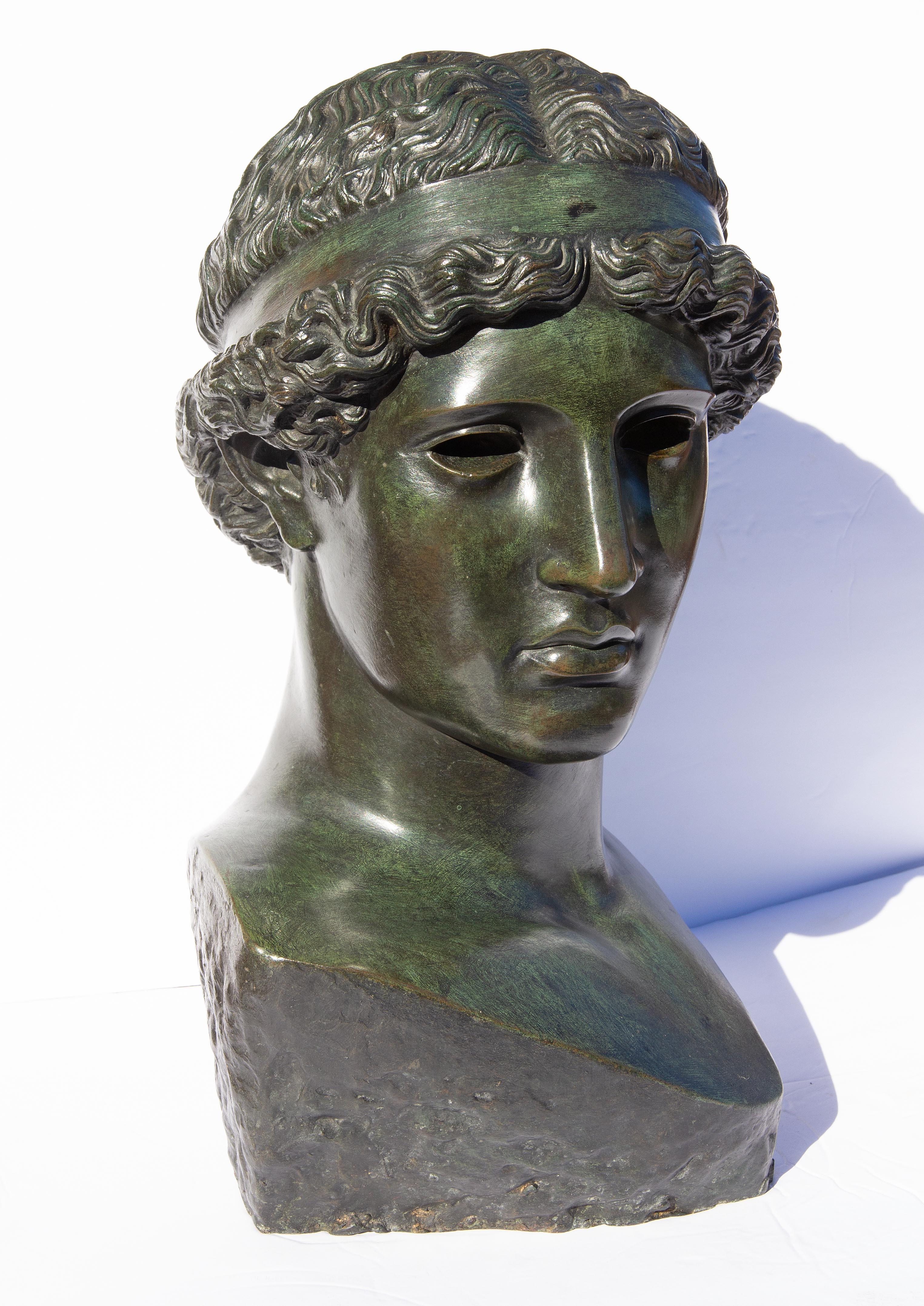 Classical Bronze Bust of Young Greek or Roman Man Life Size