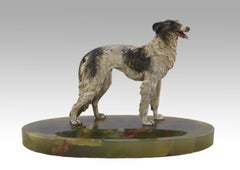 Cold painted Austrian bronze sculpture of a Borzoi dog on an onyx base