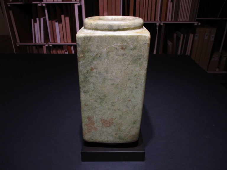 pale yellow and green jade, Qijia Culture (2200 - 1700 BCE)   16 x 7.5 x 7.5 inches with stand   As early as 7,000 years ago, the Chinese used jade to fashion symbolic weapons, body ornaments, and ritual objects. Jade is valued for its extreme