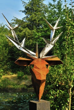 "Oudoor Sculpture - ""Deer"" - on a quadratic oxidised oak pedestal - Tall Height"