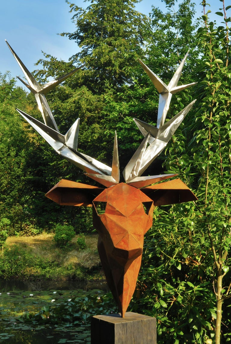 "Oudoor Sculpture - ""Deer"" - on a quadratic oxidised oak pedestal - Tall Height - Mixed Media Art by Stefan Traloc"
