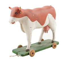 """""""Cow Pull Toy - Folk Art,"""" carved and painted wood"""