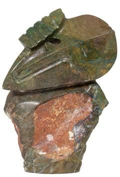 'Creation' original verdite Shona stone sculpture by Newton, figure mask