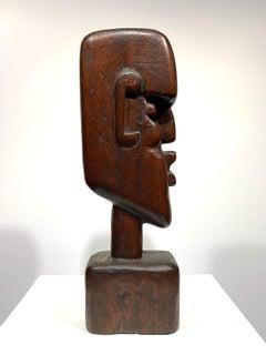 Cubist Art Deco carved bust sculpture