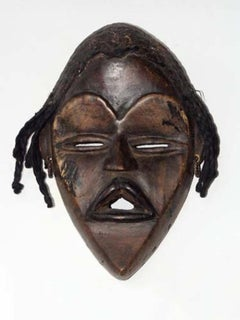 """Dan Mask Ivory Coast,"" Wood, Hair, & Mud created in African in c. 1940"