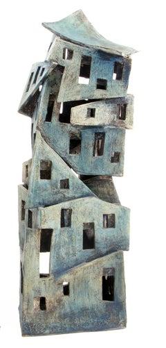 De-constructivist building, original ceramic sculpture