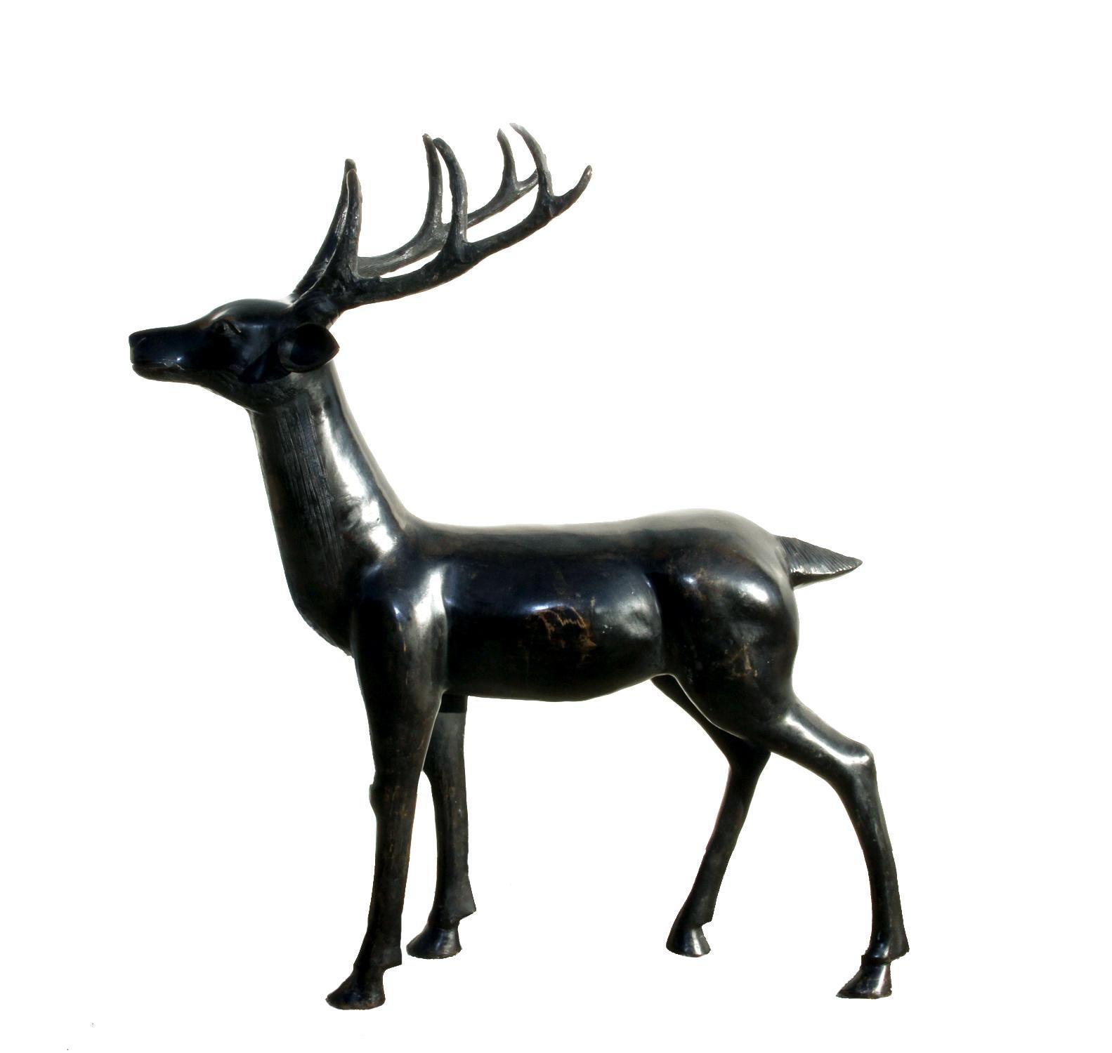 Deer, Large Patinated Bronze Sculpture