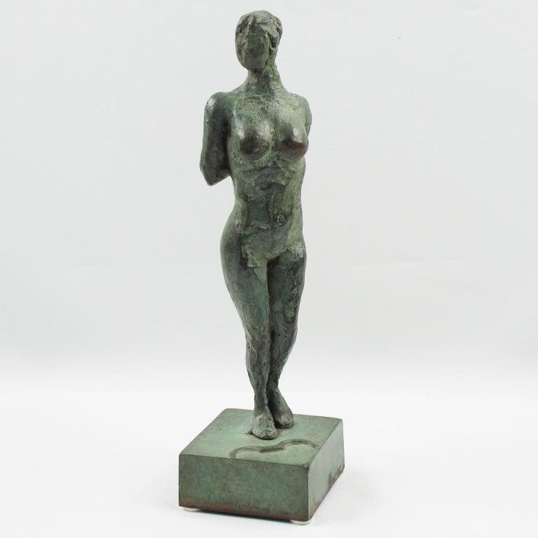 Diana the Huntress French Art Deco Artemis Bronze Sculpture For Sale 1