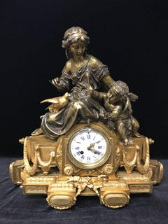 Diane and Cupidon Antique Gilt Bronze French Clock