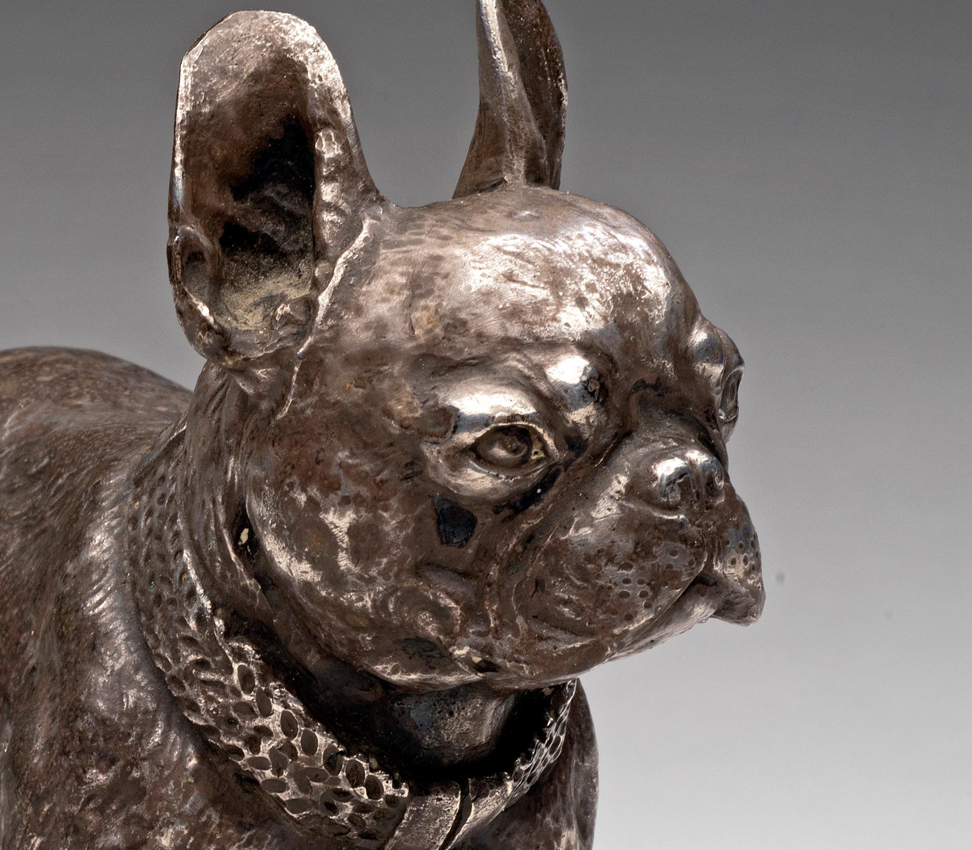 Dog Portrait of a Silvered Bronze French Bulldog circa 1880s-1890s