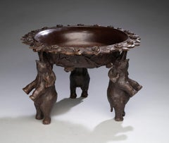 Turn of the Century Bronze Bowl With Standing Elephants