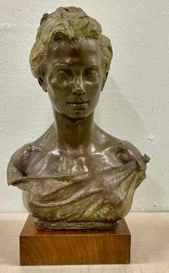 Early 20th Century Bronze Bust of an Elegant Young Woman C.1916