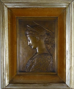 Early 20th Century Bronze Relief Pre-Raphaelite French School Profile of a Woman
