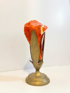 Early Murano Glass Free Form Abstract Blown, Cut, Glass Sculpture in Bronze Vase