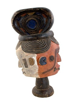 """Ekoi Mask,"" a Painted Wood and Clay Mask from Nigeria"