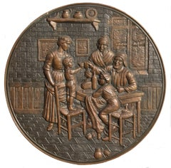Embossed Copper Repousse Plaque - Family Dinner Scene