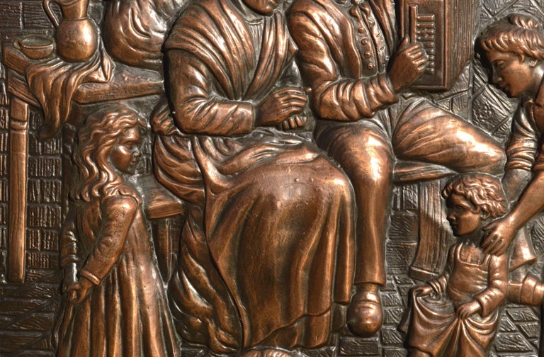 Embossed Copper Repousse Plaque - Family Hearth Scene - Renaissance Sculpture by Unknown