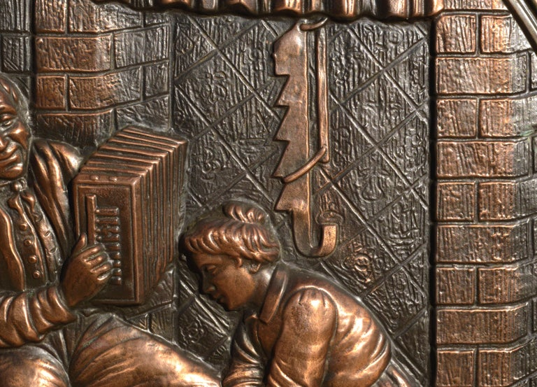 Embossed Copper Repousse Plaque - Family Hearth Scene - Brown Figurative Sculpture by Unknown