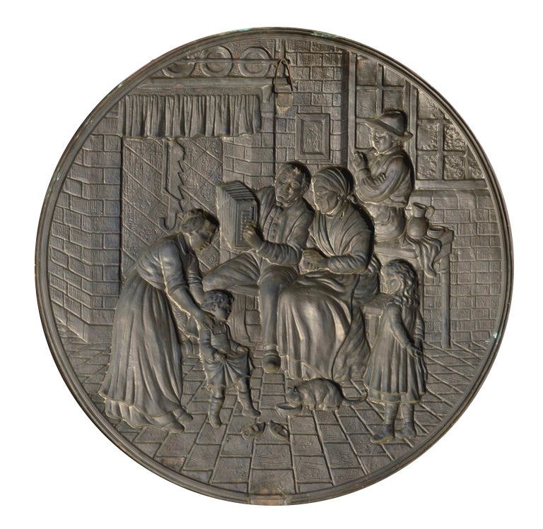 Embossed Copper Repousse Plaque - Family Hearth Scene For Sale 1