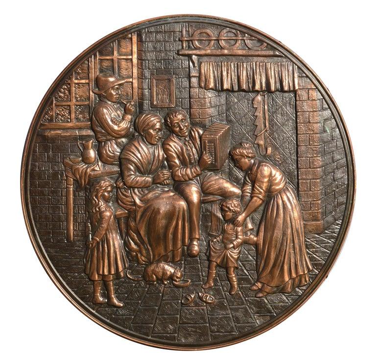Unknown Figurative Sculpture - Embossed Copper Repousse Plaque - Family Hearth Scene