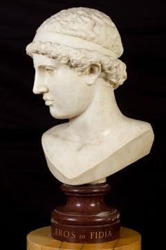 EROS Italian Neoclassical Carrara Marble Sculpture