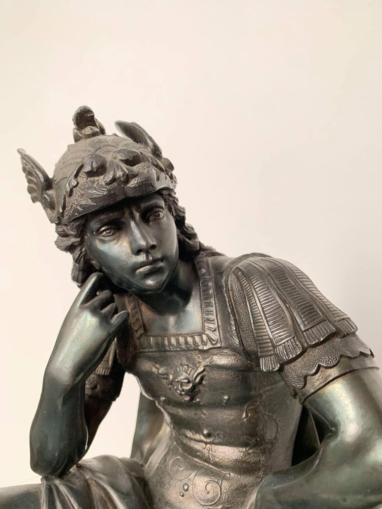 European Metal Sculpture of Seated Mars - Romantic Art by Unknown