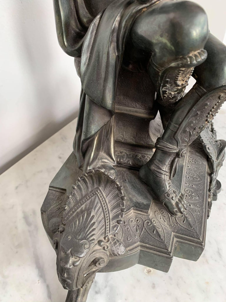 European Metal Sculpture of Seated Mars For Sale 1
