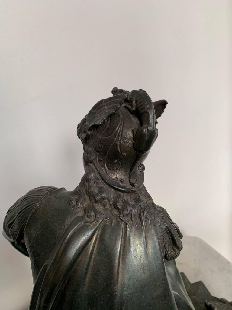 European Metal Sculpture of Seated Mars For Sale 6