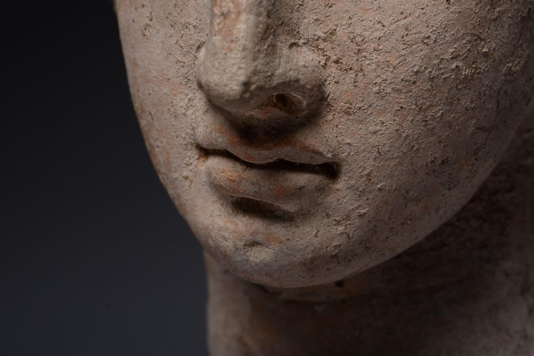 Exceptional Classical Greek Terracotta Head of a Youth - Sculpture by Unknown