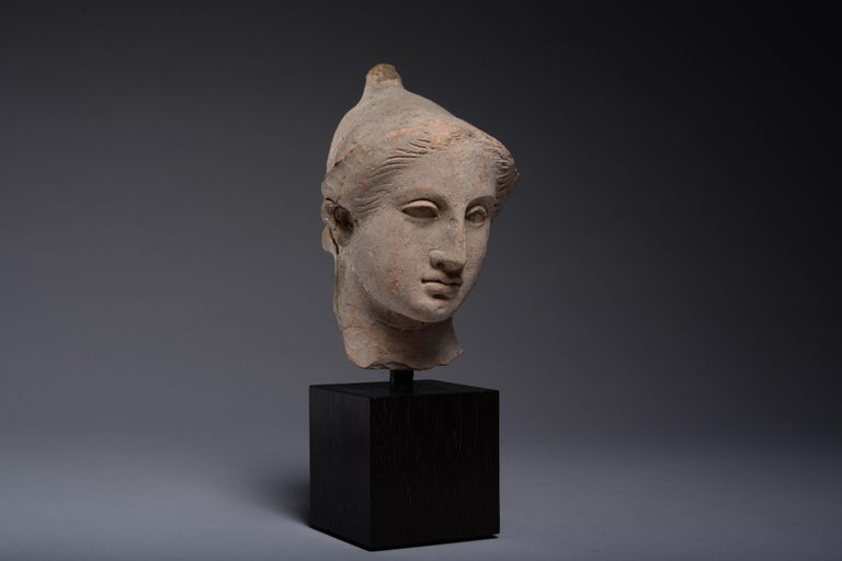 Exceptional Classical Greek Terracotta Head of a Youth - Black Figurative Sculpture by Unknown