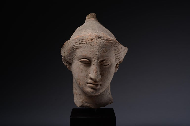Exceptional Classical Greek Terracotta Head of a Youth For Sale 1