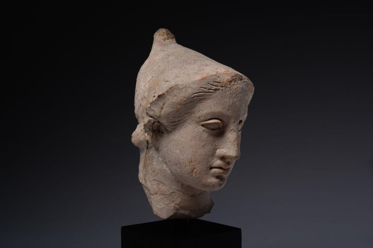 Exceptional Classical Greek Terracotta Head of a Youth For Sale 2