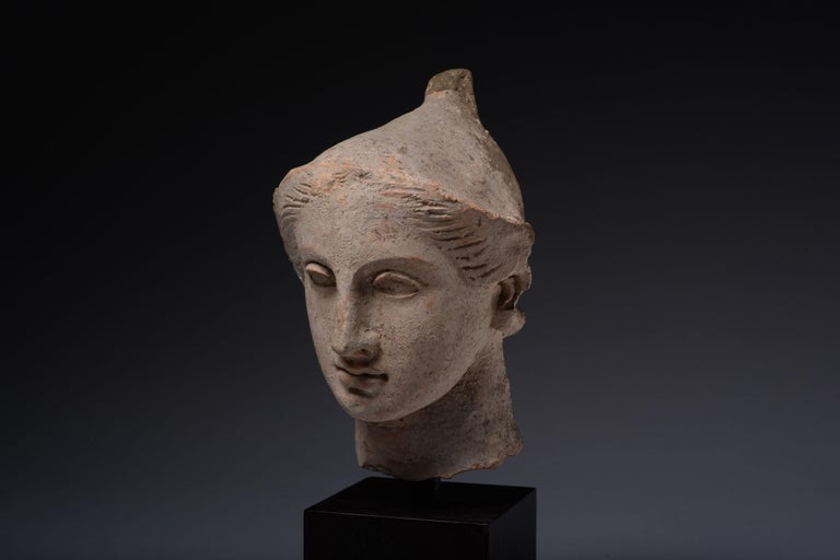 Exceptional Classical Greek Terracotta Head of a Youth For Sale 3