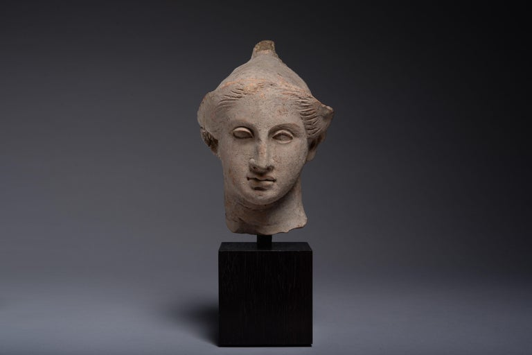 Unknown Figurative Sculpture - Exceptional Classical Greek Terracotta Head of a Youth