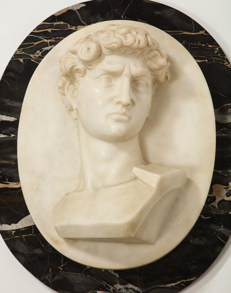 Exceptional Italian White Marble Relief Sculpture of