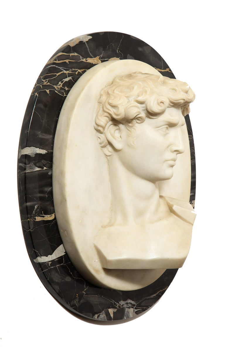 """Unknown Figurative Sculpture - Exceptional Italian White Marble Relief Sculpture of """"David"""" after Michelangelo"""