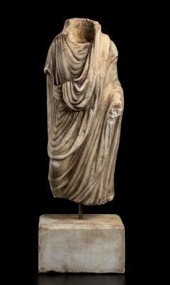 Figurative Marble Torso Sculpture Statue of a Man Grand Tour After the Antique