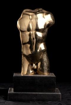 Figurative Nude Male Torso Sculpture Gold Bronze Postmodern France 20th Century